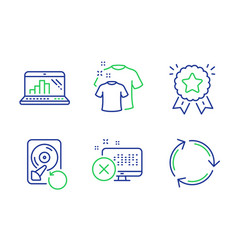 Clean t-shirt recovery hdd and graph laptop icons vector