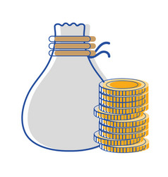 coins cash money with bag vector image