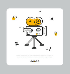 Colorful icon of cinema camera on gray vector