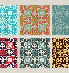 colorful set seamless floral patterns vintage vector image