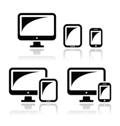 Computer tablet smartphone icons set vector