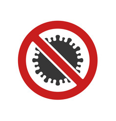 coronavirus icon with prohibit sign on white vector image