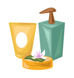 Cosmetical means of natural products for spa vector