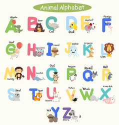 cute animal alphabets for children set vector image