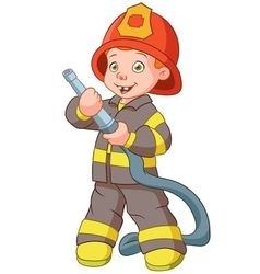 Cute cartoon boy fireman vector