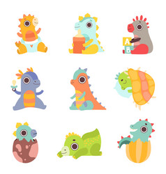 cute colorful little dinos set adorable newborn vector image