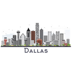 Dallas texas city skyline with gray buildings vector
