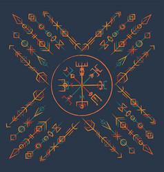 Dark runic boho color symbol vector