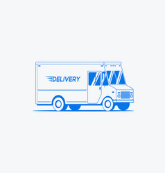 delivery truck outlined silhouette logistic vector image
