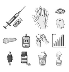 Diabetes monochrome icons in set collection for vector