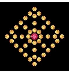 Diamond ruby rhomboid decor vector image vector image