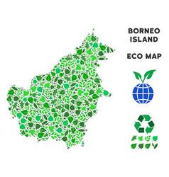 Eco green mosaic borneo island map vector