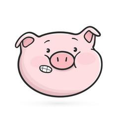 embarrassed emoticon icon emoji pig vector image
