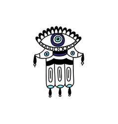 Fatima hand or hamsa with evil eye line cartoon vector