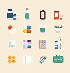 Flat icons set medical health care design vector