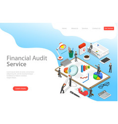 Flat isometric landing page template vector