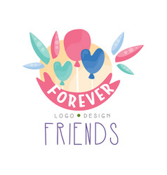 Forever friends logo design colorful creative vector