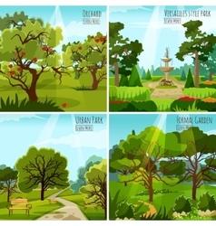 Garden Landscape 2x2 Design Concept vector