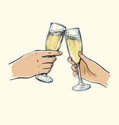 Girl and guy holding glasses champagne vector