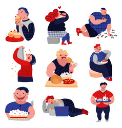 Gluttony habits lat icons set vector