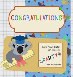 Graduation congratulation invitation template with vector