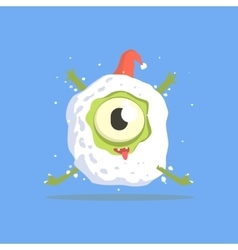 Green One-eyed Monster Trapped In Snowball vector image