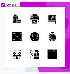 Group 9 solid glyphs signs and symbols for vector