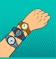 hand with wristwatch pop art vector image