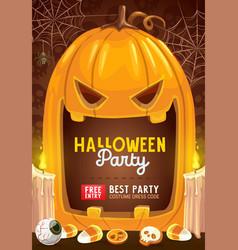 Horror pumpkin halloween trick or treat candies vector