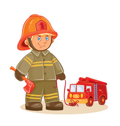 Icon of small child firefighter and his vector