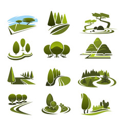 Icons for green landscape eco design vector