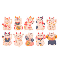 Japanese lucky cats cartoon maneki neko toy in vector