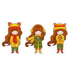 Kawaii little girls cute cartoon characters vector