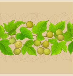 Kukui branches pattern on color background vector