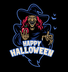 lady witch mascot hold apple fruit vector image