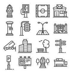 Line city elements icons set on white vector