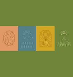 linear art sun moon sea island mountain palm vector image