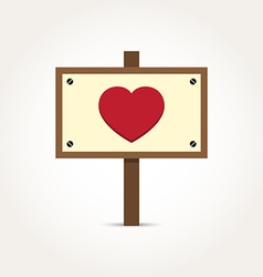 Love Heart Wooden Sign Board vector image
