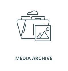 Media archive line icon linear concept vector