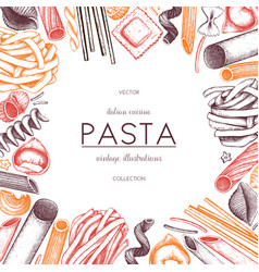 Menu template with italian pasta vector