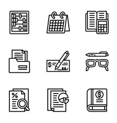 money icon set outline style vector image