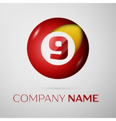 Number nine logo symbol in the colorful circle on vector image