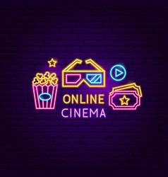 Online cinema neon sign vector