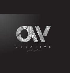 ow o w letter logo with zebra lines texture vector image
