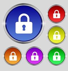 Pad Lock icon sign Round symbol on bright vector image