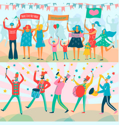 parade people flat banner set vector image