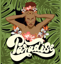 Paradise hand drawn lettering vector