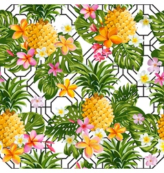 Pineapples and Tropical Flowers Geometry Pattern vector image