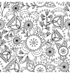 Poppy and dandelion seamless pattern coloring vector