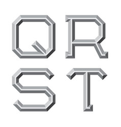 q r s t gray faceted letters prismatic retro vector image